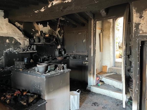 The aftermath of the New Year's Eve fire in the kitchen